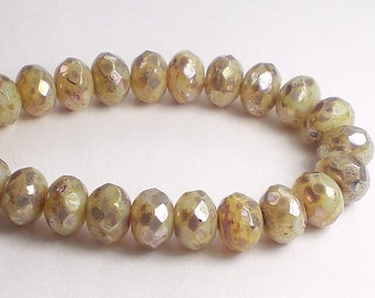 Czech Glass Beads 8mm Champagne Faceted Rondelle with an Amber Picasso Finish 10 Pcs. 591