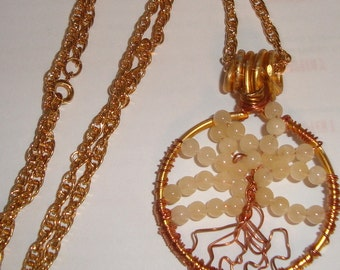 Tree of Life, Goldtone with Round Gemstone Beads, Trees, Tree of Life Pendant