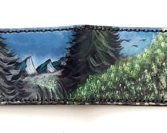 wallet, leather wallet, handmade wallet, mens wallet, Hand Painted, bifold wallet, painted art, art wallet, mens leather wallet