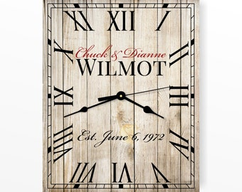 """Personalized Rustic Clock 12""""x15"""" or 16""""x20"""" by MRC Wood Products"""