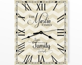 """Personalized Chevron Clock 12""""x15"""" or 16""""x20"""" by MRC Wood Products"""