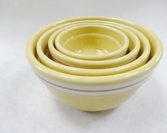 Vintage Miniature Yellow Ware Ceramic Pottery Kitchen Stacking Banded Mixing Bowls Set THT Tender Heart Treasures