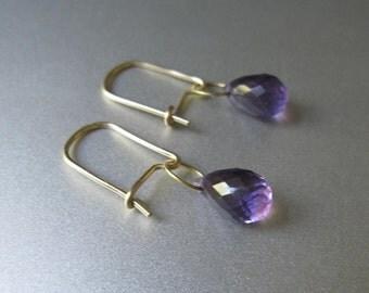 Amethyst Drop 18K Gold Kidney Wire Solid Gold Earrings