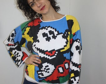 Reversible digital print Mickey Mouse sweatshirt