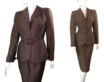 Hourglass Vintage Late 1940s Dress SUIT Jacket with Pencil Skirt by Kipness