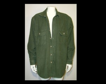 Vintage classic heavy cotton flannel work shirt - 42 dark green - Field & Stream chore hunting fishing winter - jacket - new - flap pockets