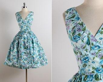 Vintage 50s dress | vintage 1950s Rosa Ray dress | floral cotton dress xs | 5767