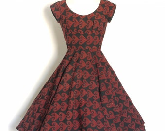 Black & Burgundy Block Print Scoop-neck Dress with Circle Skirt - Made by Dig For Victory