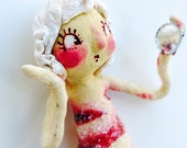 Ooak Spun Cotton, Valentines Day, Red ans White, Mermaid, Ornament
