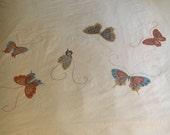 Vtg Full Flat Bed Sheet - Beige with Butterflies - Martex - Designer Hanae Mori