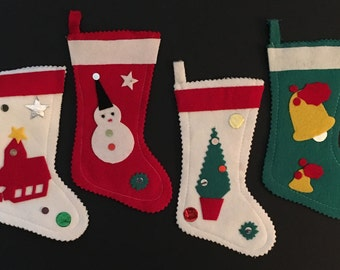 4 Vtg Tiny Felt Christmas Stocking Ornaments / Gift Card or Money Holders - Made In Japan