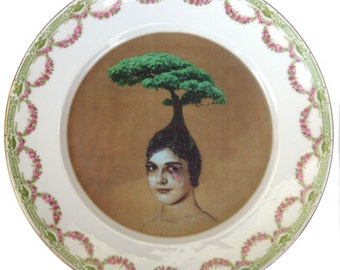 SALE - damaged - The Healing Tree - Altered Vintage Plate 10""