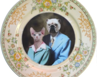 Earl and Betty Portrait Plate - Altered Vintage Plate 9.4""