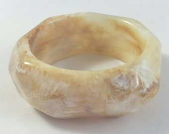 Marbelized Beige Plastic Bangle Signed Yosca