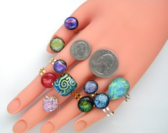 lot of 10 RINGS Dichroic rings  fused dichroic glass handmade SYE8