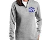 Ladies Monogrammed 1/4 zip fleece pullover