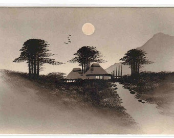 Village Houses in Moonlight Japan Lacquer postcard