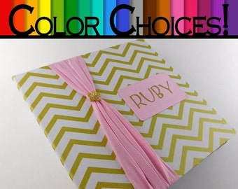 Photo Album Personalized Girl Photo Album Baby Shower Scrapbook 4x6 5x7 8x10 Picture Book Pink and Gold Chevron- MORE COLOR CHOICES