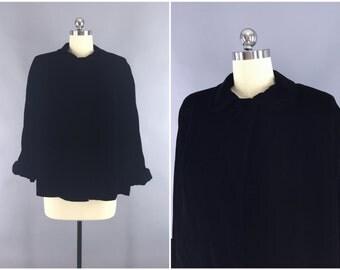 Vintage 1960s Jacket / 60s Black Velvet Coat / 1960 Swing Coat / Formal Evening Wedding Prom Opera