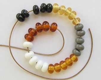 Lampwork Glass Donuts Beads, FREE SHIPPING, Dark Gray, Black, White, Amber Glass Spacers Beads - Rachelcartglass