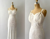 ON SALE 1930s Vintage Gown - 30s Ivory Satin Dress