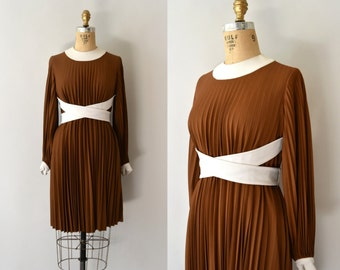1960s Vintage Dress - 60s Brown Pleated Belted Wrap Dress