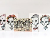 Dia de los Muertos Calaveras Girls - 5 Postcard set - by Mab Graves - Memento Mori - Day of the Dead
