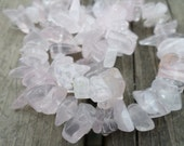Rose Quartz Medium Chip Beads Full Strand 8-25mm 16 inch Strand