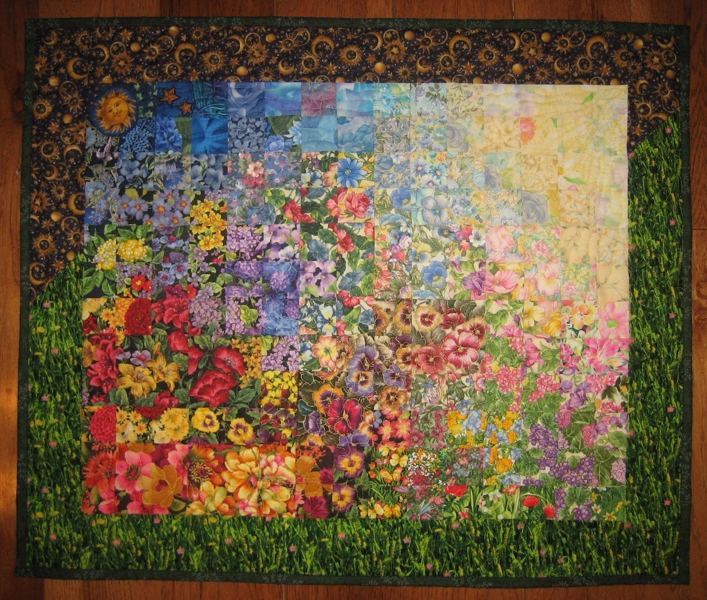 Reserved for betty art quilt sunny garden sun and moon fabric for Sun and moon fabric