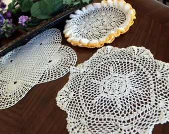 3 Assorted Crochet Doilies, Vintage Knit Doily, Whites and Gold Lot 13356