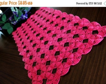 Hot Pink Runner - Vintage Hand Crocheted Table Linens or Long Doily, Crochet Mantel Scarf 13330