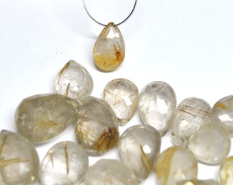 Rutilated Quartz, Rutile, Natural Beads, Tear Drop, Faceted Briolette, Microfaceted - 39 pcs - 9.0-16.7 mm - 153.1 ct - 160229-06