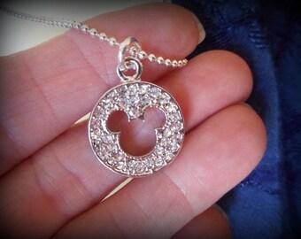 Mickey Mouse Swarovski Crystal Necklace Pendant