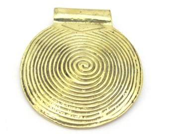 1 Pendant - 46 mm Solid brass spiral symbol tribal shield pendant -  1 Pendant - CP103