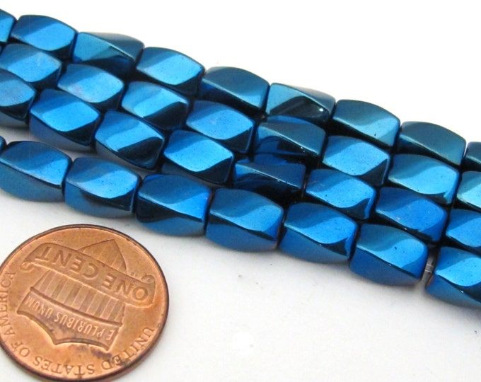 10 beads  - Electrifying Blue color magnetic hematite gemstone Beads   - GM411z