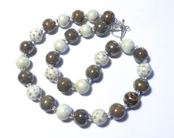 Kazuri Bead Necklace MOP Finish, African Design Beads, Ceramic Necklace, Mother of Pearl Finish