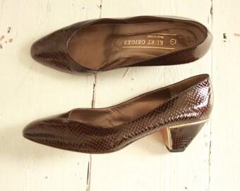 Brown Snakeskin Court Shoes By Kurt Geiger 1980's size EU 38.5
