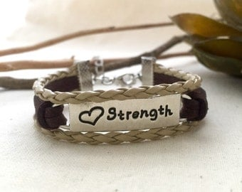Strength Cord Bracelet, Affirmation Bracelet, Friendship Bracelet, Gift Idea, Handmade Bracelet, Best Friend Gift, Tag Bracelet