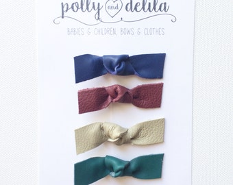 Fall colors leather knot bow clips set of 4
