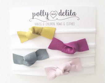 Leather knots headbands on nylon band-3 color sets available!