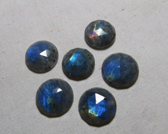 20- 22 mm - 6 pcs - Gorgeous Nice Quality AAAA Labradorite - Super Sparkle Rose Cut Faceted Round -Each Pcs Full Flashy Gorgeous Fire