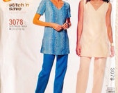 Uncut, McCall's Easy Stitch n Save, Sewing Pattern, Tunic Top & Pants, Misses Petite, Size 10, 12, 14, 16, 2001