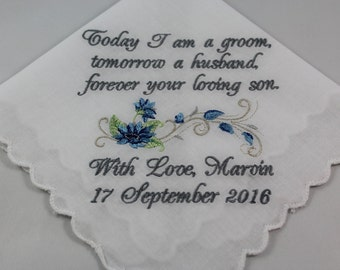 Personalized - Mother of the Groom - Embroidered Handkerchief - Wedding Gift - Simply Sweet Hankies