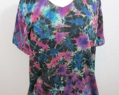 Tie Dye T-shirt Size XL Black Fuschia and Turquoise Marbled