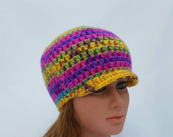 womens hat, girls beanie with brim, crochet hat, pink hat, purple hat, small brim beanie, vegan friendly, womens fashion, youth adult hats