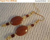 VALENTINES SALE Earthy Tones - Large Gold Stone Beaded 22k Gold Earrings -  Fae F070