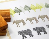Olive Wood Wolf, Grizzly Bear and/or Forest Tree - 3 Stamps Available