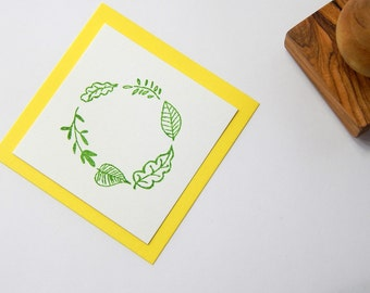 Scattered Leaves Wreath  Olive Wood Stamp