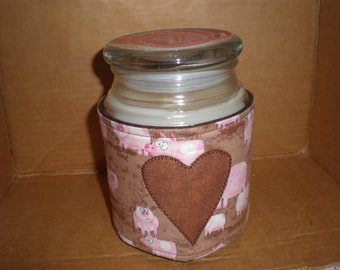 Candle Cozy Quilted Cotton Candle Wrap Jar Candle Surround Pigs in Mud