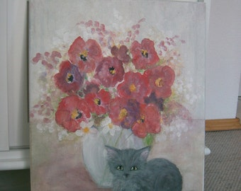 Original Painting Acrylic Kitten Cat Flower Vase Poppy Poppies Red